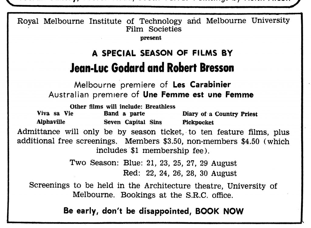 Advertisment Aug 1967 from Catalyst RMIT